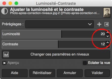 Gimp : réglage Luminosité-Contraste