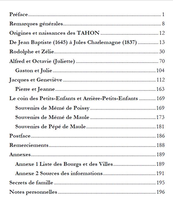 livre famille généalogie plan table matières