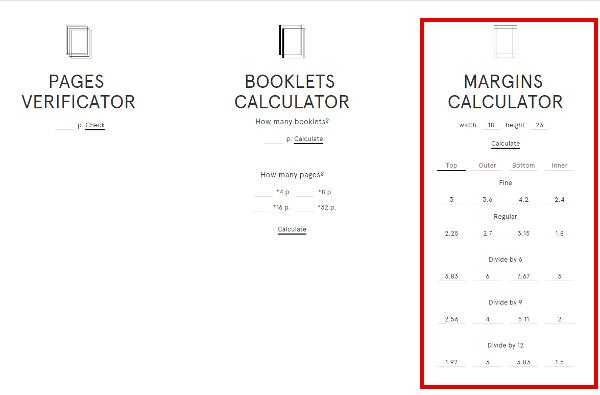 site book calculator